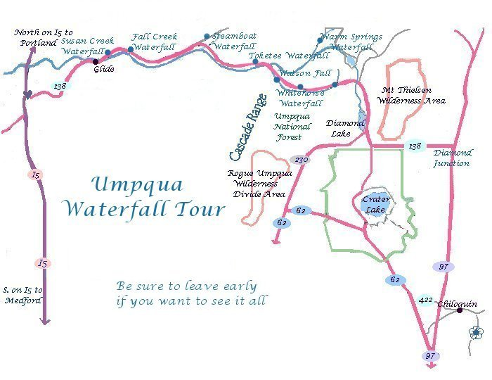 Oregon Maps: Umpqua River Waterfalls