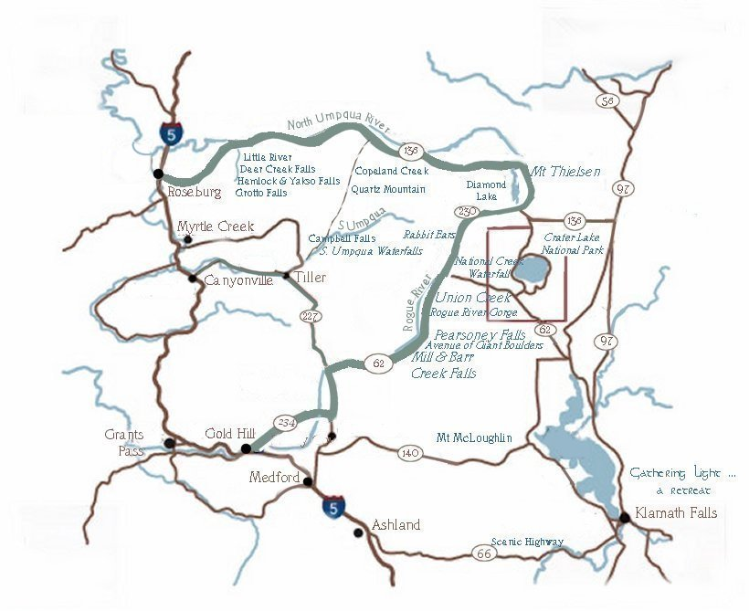 Umpqua Oregon Map.Oregon Maps Crater Lake Rogue Umpqua Rivers