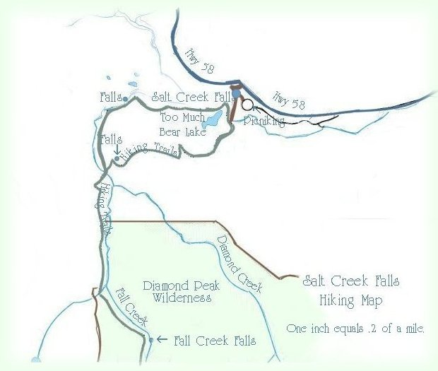 Hiking Trails Maps: Salt Creek Falls, Oregon